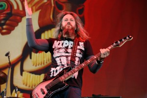 NOBLESVILLE, IN - JULY 26:  Troy Sanders of Mastodon performs during the Rockstar Energy Drink Mayhem Festival at the Klipsch Music Center on July 26, 2013 in Noblesville, Indiana.  (Photo by Joey Foley/Getty Images)